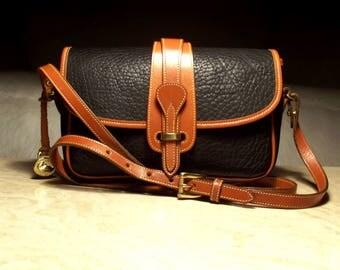 "RESERVED 7-19-17 Pristine Vintage Dooney and Bourke R53 AWL Black/British Tan ""Small Equestrian"" Crossbody Handbag: Clean, Chic, Elegant"