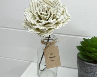 Paper Rose, Message flower, personalised with your words in any colour with gift tag.