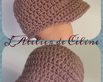 Newsboy cap - winter or mid-season Hat - crochet baby or child size choice