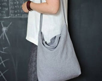 Gray linen tote bag, Linen hobo bag, Tote bag, Shopper bag, Washed linen bag, Beach bag, Library tote bag, Book bag