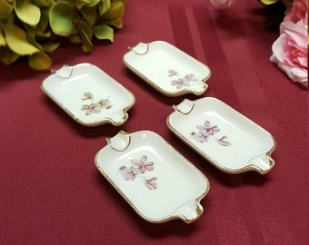 1950s Tobacciana Personal Ashtrays, Set of 4 FLORAL Violet Mid-Century Ashtrays, No Logo, Home Patio Garden  TV Movie Prop