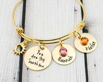 Custom You Are My Sunshine Jewelry - Gold Personalized Name Bracelet for Women - You Are My Sunshine Bracelet - Personalized Gift for Mom