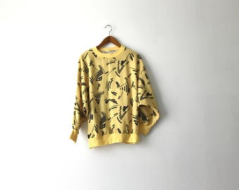 Yellow 80s Abstract Batwing Shirt - M/L