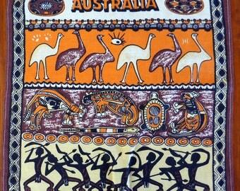 Vintage pure linen tea towel, Australia, aboriginal paintings/art work