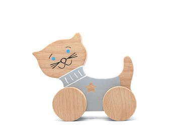 Wooden Cat - Push Toy Cat - Wooden Toy - Cat Toy -  Wooden Toy For Toddler - Kids Birthday gift - Toddler Toy