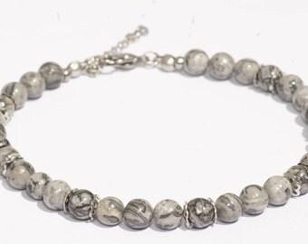 Bracelet de cheville pierre Jaspe paysage/bijoux de cheville/bijoux de plage/acier inoxydable