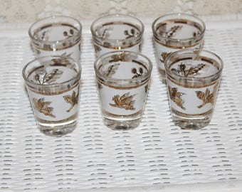 Set of 6 Vintage Glass Shot Glasses or Shooters Frosted Glass with Gold Patterns & Lines