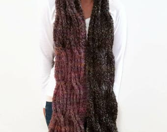 Purple Black, Cable Boucle Knit, Knit Winter Fashion, Long Winter Scarf, Gift For Sister, Gift For Teacher, Gift For Wife, Ombre Knit Scarf