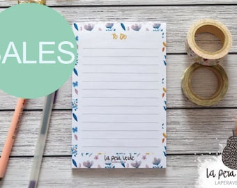 BLUE FLOWERS NOTEPAD, flowers notepad, illustration notepad, notepad to do list, to do list, illustration flowers, spring flowers, notepad