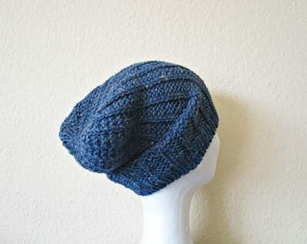 Slouchy Hats Hand knit beanie Blue knit beanie Slouchy knit hat Boho beanie Knit beanie Gift to mom Knitted hat Wool hipster beanie