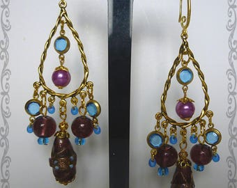 "Baroque earrings ""Heavenly"" gold metal beads purple Murano glass, purple lampwork glass, sapphire blue charms"