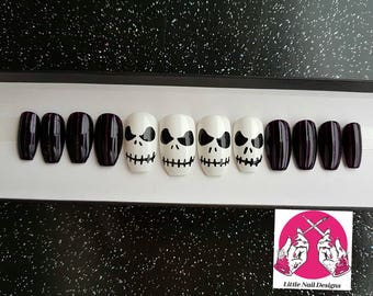 Jack Skellington The Nightmare Before Christmas hand painted Halloween false nails | Gifts for her