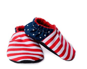 Crib Shoes - Soft Sole Baby Shoes - 4th of July Moccasins -  Baby Slippers - Baby Booties - Baby Shower Gift - Freedom Collection