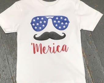 Patriotic 'Merica Mustache Personalized Summer Newborn Infant Toddler TShirt Tee Shirt