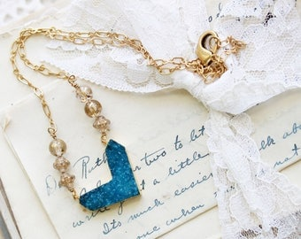 Simple Druzy Jewelry -  Blue Druzy Heart Necklace - Mother of the Groom Necklace - Romantic Necklace for Wife - Heart Necklace - Blue Druzy