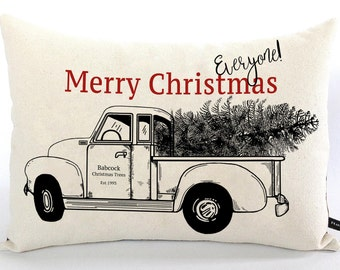 Personalized Christmas pillow truck and Christmas tree Merry Christmas farmhouse cotton canvas 12x16 cushion #550 FlossieandRay