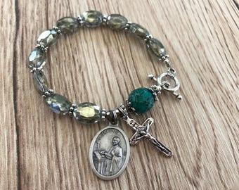 Rosary Bracelet Saint Ignatius  Charm