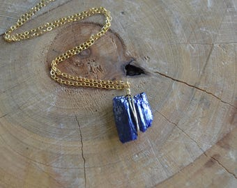 Raw Azurite Necklace // Gold Fill Chain //  Healing Stone Necklace // Inner Vision // Third Eye // Dream Enhancement // Migraines