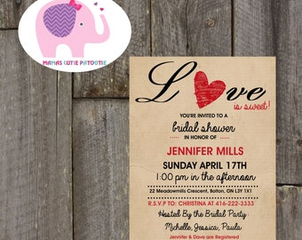 Rustic Bridal Shower, Rustic Shower Invitation, Love Bridal Shower, Shower Invite