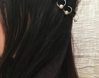 Peral hair rings, braid accessories, hair hoop, rings for hair, jewelry for braid, rings beads jewelry, unique hair rings