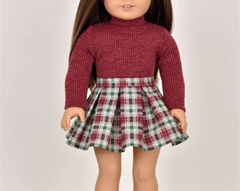 Turtle Neck Top  18 inch doll clothes Burgundy