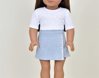 UnEven Denim Skirt  18 inch doll clothes