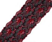Black red stretch lace Lingerie lace Wide lace Black lace trim Big flowers lace width 8.26 inch, 21 cm, Lace per meter # 4239