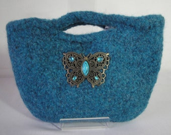 turquoise clutch bag, felt evening purse, butterfly bag, gift for her, OOAK wool knit purse, summer nights bag, felted knit clutch, purse