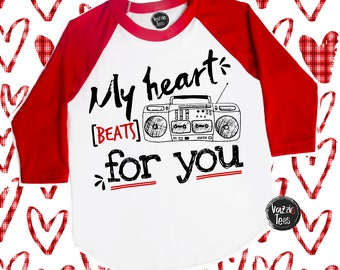 My Heart Beats for You - Funny Valentine Shirts - Music Shirts - BoomBox Shirt - Unisex Kids' Shirts - Cute Valentine Shirts - Heart Beats