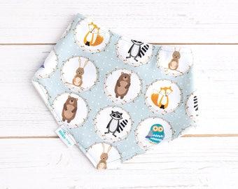 Baby Bandana Bib - Organic Bamboo & Cotton Dribble Bib - Woodland Animals on Blue - UK  Baby Boy Gift - Cute Bib -Drool Bib