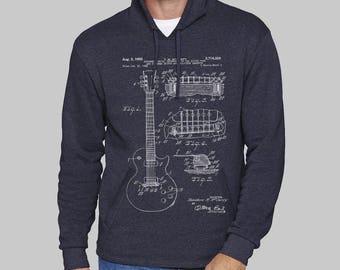Navy Blue Mens Pullover Hoodie, Full Moon, Gibson Guitar hoodie, sweatshirt for men, hoodies, sweatshirt, fleece, graphic hoodie