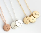 Personalized Mother's Day Gift/Initial Necklace/Date Necklace/New Mom Necklace/Mothers Necklace/Gold Fill, Silver, Rose Gold Gift for Mom/