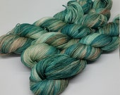Sea Glass - Sparkle Sock Yarn - Superwash Merino + Nylon + Silver Stellina - 75/20/5 - Ready to ship