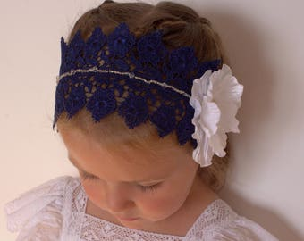 Navy Blue white headband,Navy Blue lace headband,white flower headband,wedding lace headband,girl Baby Toddler Headband,Vintage headband