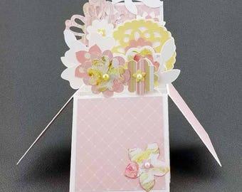 Handmade Flowers box card Pink