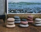 Tiny Stone Cairn - Meditation Altar - Small Flat Pebbles - Zen Balance Stones - Fairy Garden - Stocking Stuffer - Gift Wrapping