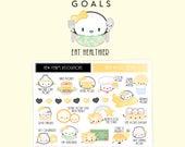 "Goals Stickers - ""Resolutions"" [Planner Stickers, Goals Stickers, Healthy Eating, Reading Stickers, Eating Stickers, Deco Stickers] - S161"