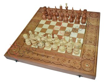 Antique Chess Set Wooden Backgammon Set Chess Board Copper Wood Chess  Pieces Backgammon Table Chess Set