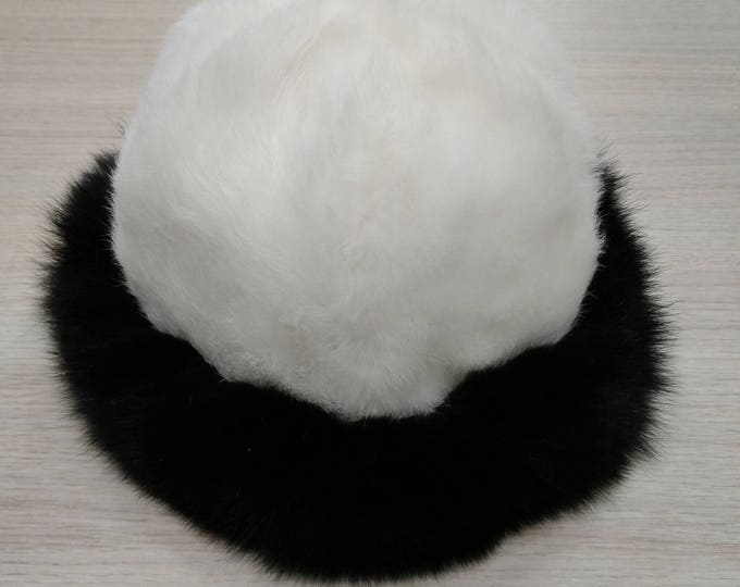 Real Hat Rabbit and Fox Fur Winter Hat  F607