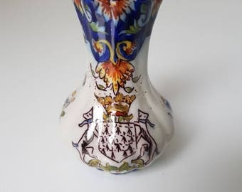 Antique Rouen Desvres ceramic vase, small french souvenir