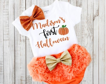 my first halloween personalized halloween bodysuit baby girl halloween outfit baby girl clothes - Halloween My Picture
