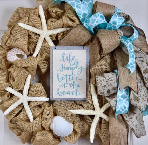 Burlap Better at the Beach Wreath with Starfish; Nautical Shore Wreath; Beach House Wreath; Shore House Wreath; Summer Starfish Shell Wreath