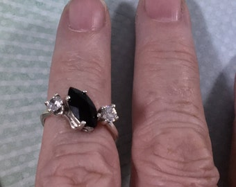 Black Onyx w/CZ accents Ring