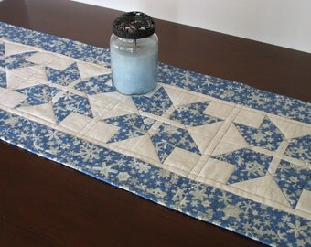 Snowflake table runner, reversible,  FREE SHIPPING