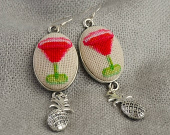 Gift for her Cross stitch jewelry Cocktail red earrings Embroidered jewelry Pineapple charm Cocktail party jewelry Hand embroidered earrings