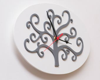 First home GIFT, Modern Clock, Unique wall Clock, LUCKY charm, Good luck TREE, Family tree, Anniversary Present, Talisman, Office Decoration