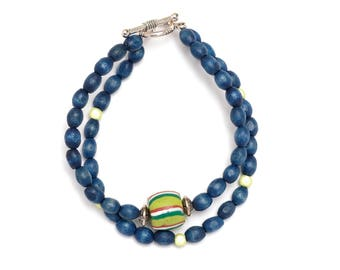Bracelet olive wooden beads and Millefiori
