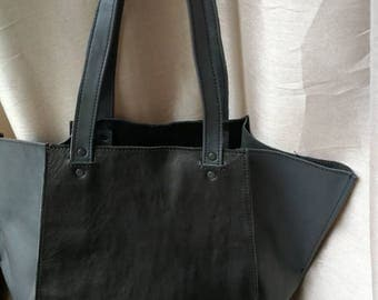Black and grey leather bag, Real leather tote bag, Large bag, tote bag, Women Carry Bag, Office leather Bag, Laptop Bag