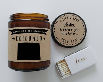 Colorado Scented Candle Missing Home Homesick Gift Moving Gift New Home No Place Like Home State Candle Miss You Mothers Day Gift