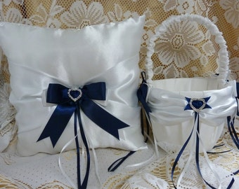 WEDDING RING BEARER pillow and flower girl basket set white and navy blue satin and ribbon hearts diamante page boy bride petals